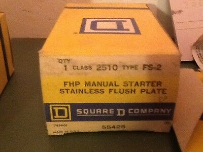 Square D 2510 Fs-2 Fhp Manual Starter Stainless Flush Plate-New