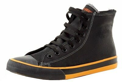 Harley Davidson Men's Nathan D93816 Black/Orange Leather High-Top Sneakers Shoes