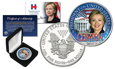 HILLARY CLINTON White House 2016 PURE 1oz SILVER AMERICAN EAGLE with Premium BOX