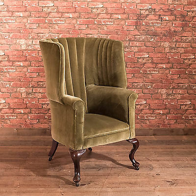 Antique Armchair, Victorian Scottish Wing Back Fireside Arm Chair, Porters
