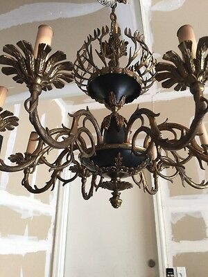 Exquisite  Vintage Brass & Tole European 8 - Arm Chandelier
