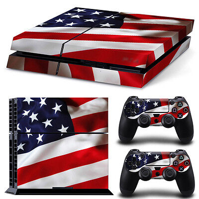 USA American Flag Sticker Decal Skin For PS4 Console + 2 Controllers