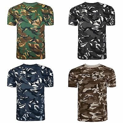 Mens Camouflage T Shirt Top Vest Camo Military Hunting Army Combat Fishing M-Xl