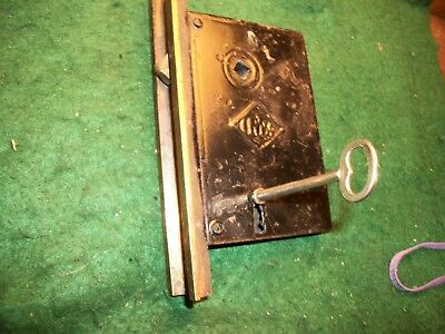 RARE- ANTIQUE-VINTAGE-OLD -Victorian Eastlake Pocket Door LOCK SET w/ KEY