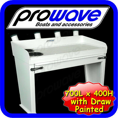 Aluminium Bait board with drawer painted - 700 wide