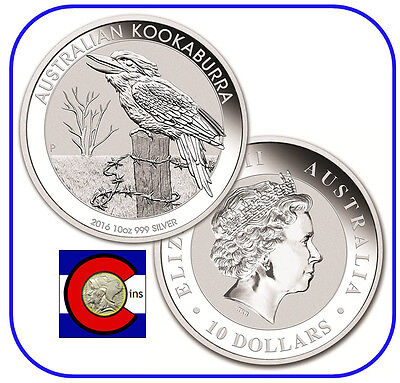 2016 Australia Kookaburra 10 oz. Silver Coin - BU direct from Perth Mint