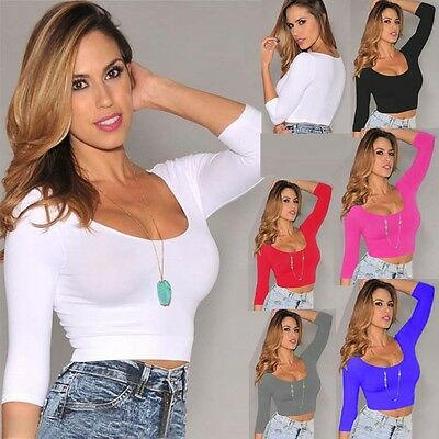 Ladies low-cut sexy stretch fitted short t shirt long sleeve crop tops for women