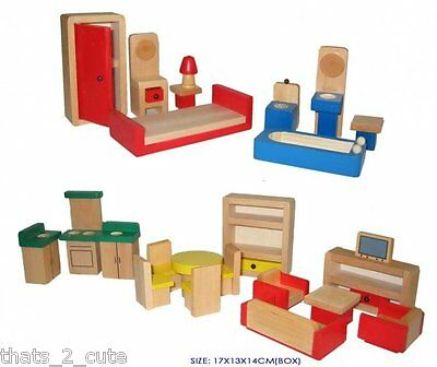 Wooden Dollhouse Furniture 5 Rooms to fully furnish a Doll house