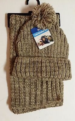 GMI GOLD MEDAL Kids 2pc Variegated Rib Knit Pom Pom Hat & Scarf Set BEIGE