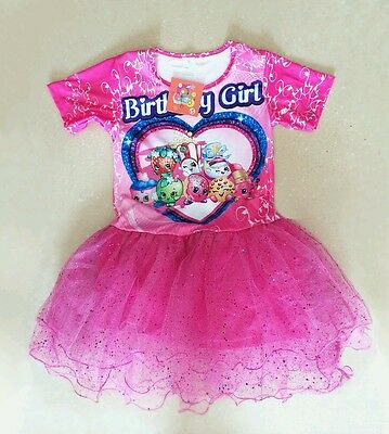 NWT Shopkins Sparkly Pink Tutu Birthday Girls print Party Dress clothes Size 7/8