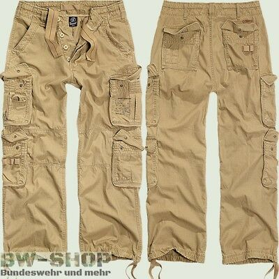 Brandit Hose Pure Vintage Beige Neu Cargohose Lang Bw Army Style Outdoor Cargo