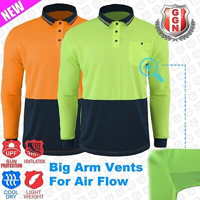 HI VIS SAFETY POLO SHIRT COOL BREATHABLE MICROMESH LONG SLEEVE, Cool Dry Cool...