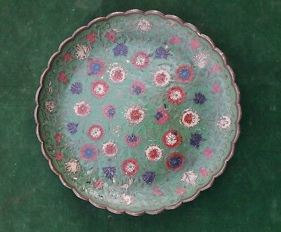 Antique OTTOMAN TURKISH MUGHAL Brass pate enamelled/ lacquered floral Dish