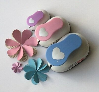 Sale!!!! 3X Heart Craft Paper Punches + Bonus Free Xl Punch!!!