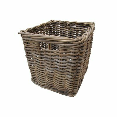 Grey & Buff Square Rattan Deep Wicker Storage Basket Unit Shelf Handle Shelving