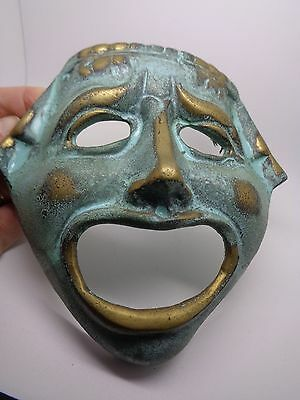 BRASS THEATRE FACE TRAGEDY WALL HANGING COLLECTABLE MASK DRAMA (ref40)