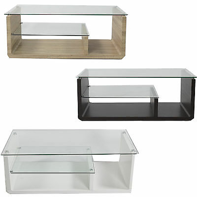 Glass Coffee Table modern rectangular living room furniture with storage