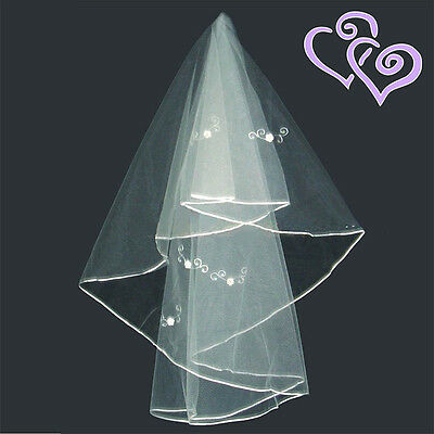Bridal Veil 1-Tier Satin Edged Sequins Appliques Hen Night Fancy Dress 2401-607W