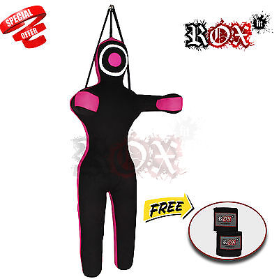 Grappling Dummy Training Bags Black Pink Hanging with Black Handwrap 6 ft FREE