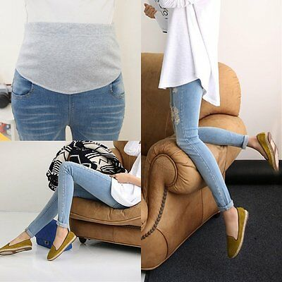 New Pregnant Women Pants High Waist Jeans Slim Ripped Holes Maternity Trousers