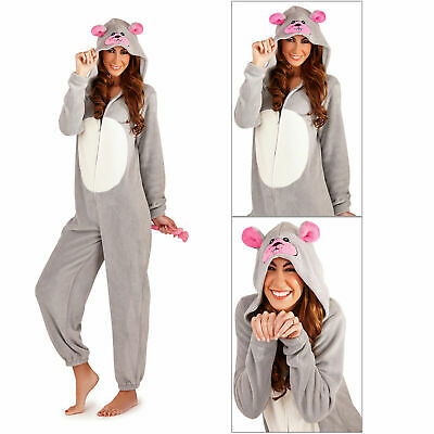 Womens 3D Mouse Jumpsuit Ladies Super Soft Hooded All In One With Ears & Tail