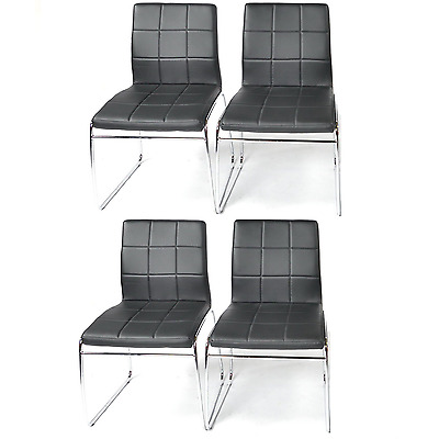 Set of Faux Leather Dining Chairs with Chrome Legs Lounge Kitchen Furniture x4
