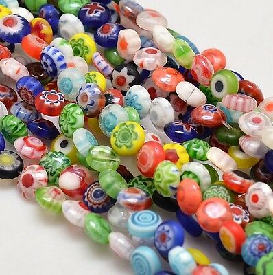 Handmade Millefiori Glass Flat Round Bead Strands Single Flower Colorful 6x3mm