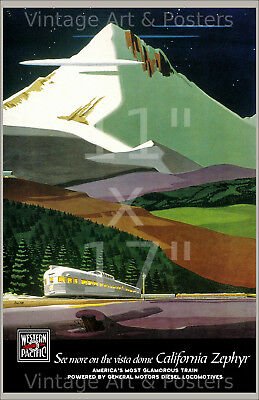 California Zephyr - 11x17 inch Vintage Western Pacific Railroad Travel Poster