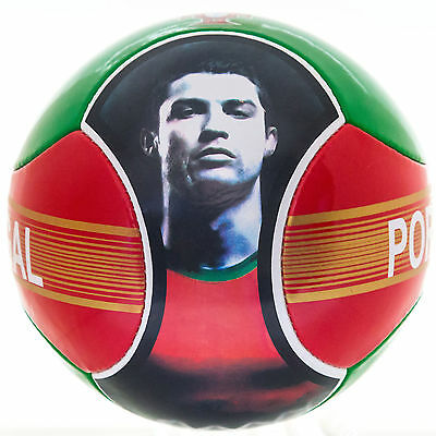Soccer Ball Cristiano Ronaldo Portugal 6 Panels Red Green Official Size 5