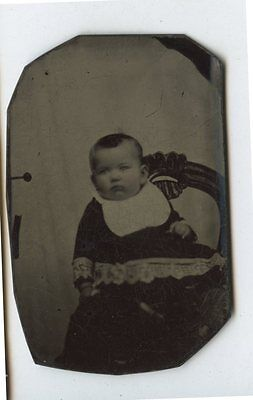 Antique Tintype Photo Baby in Carved Chair