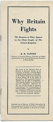 Old WW2 Pamphlet Why Britain fights by R.H.Tawney