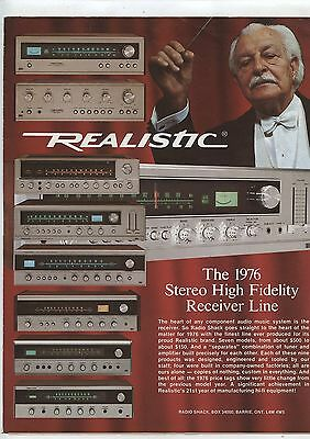Old 1976 Realistic Stereo High Fidelity Receiver Line Brochure