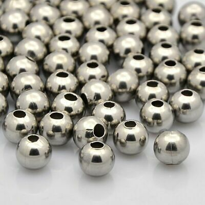 100pcs 304 Stainless Steel Round Spacer Beads Jewelry Craft Making 4mm Hole 1mm