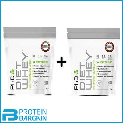 PhD Diet Whey 2 X 1kg = 2kg High Protein Lean Matrix Weight Loss