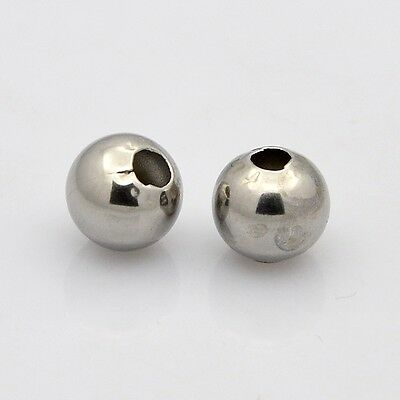 100pcs 304 Stainless Steel Round Spacer Beads 5mm Hole 2mm Jewelry Craft Making