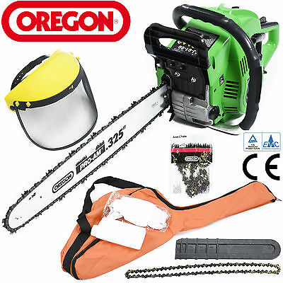 "60cc Petrol Oregon Chainsaw 20"" Bar Full Face Mask Gloves Mixer Bottle Carry Bag"