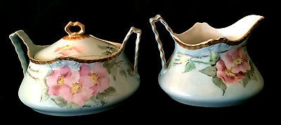 Beautiful Cream And Sugar Pair Antique German Germany Milk Pitcher Creamer