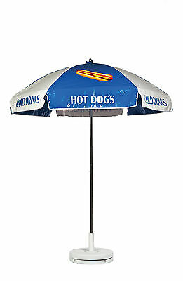Frankford Hot Dog Cart Umbrella - Blue/White