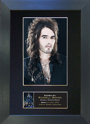 RUSSEL BRAND Signed Mounted Autograph Photo Prints A4 #1