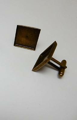 1 pair square bronze plated cuff link blanks 16 mm bezel cabochon or resin craft