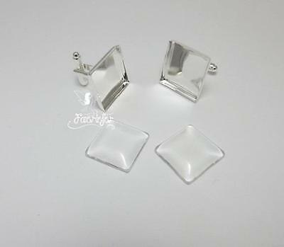 1 pair square silver plated cuff link blanks 16 mm bezel + matching glass domes