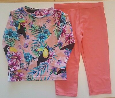 Next Girls Tropical Floral & Toucan Print Top With Coral Leggings - Age 3-4 Yrs