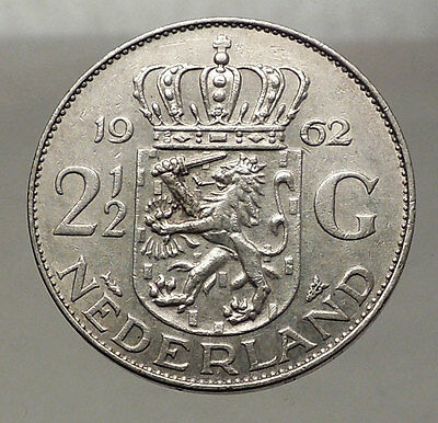 1962 Netherlands Kingdom Queen JULIANA 2½ Gulden Authentic Silver Coin i57772