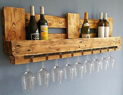 WINE RACK EURO PALLET FURNITURE Vintage WALL SHELF Wood Bar Rustic Flamed Shabby