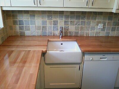 Rustic Solid Beech Worktop, 30-40mm Staves, Free 2 man delivery. Cheapest online