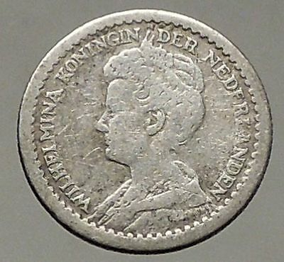 1917 Netherlands Queen WILHELMINA 10 Cents Wreath Authentic Silver Coin i57800