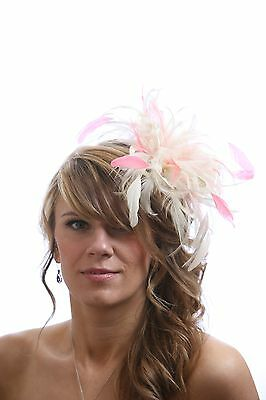 Cream & Coral Pink  Wedding Fascinator Hat/any satin/highlight feather colour