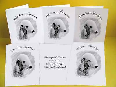 Bedlington Terrier pack of 6 Dog Christmas Cards with a choice of 3 verse