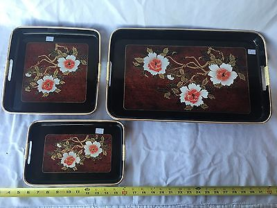 Japanese Lacquered Acrylic Vintage Nested Black and Gold Serving Trays Set of 3