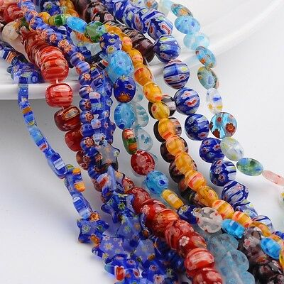 10Strands Mixed Shape Handmade Millefiori Glass Beads Strands Mixed Color